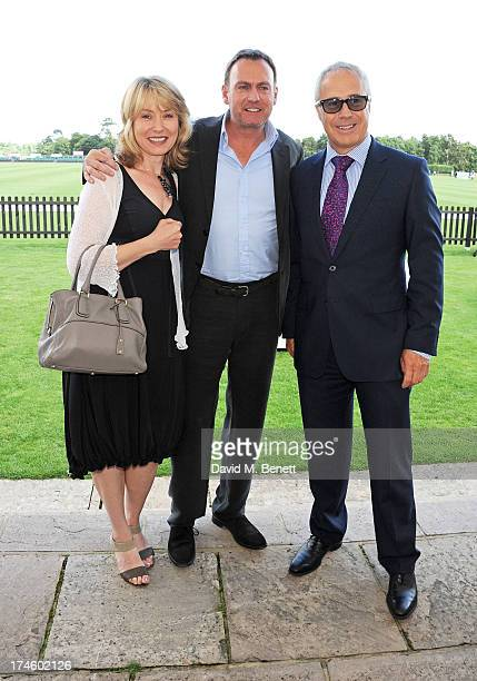 Beth Goddard Philip Glenister and Audi UK Head of PR Jon Zammett attend the Audi International Polo at Guards Polo Club on July 28 2013 in Egham...