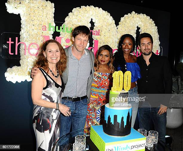 Beth Grant Ike Barinholtz Mindy Kaling Xosha Roquemore and Ed Weeks attend the 100th episode celebration of 'The Mindy Project' at EP LP on September...