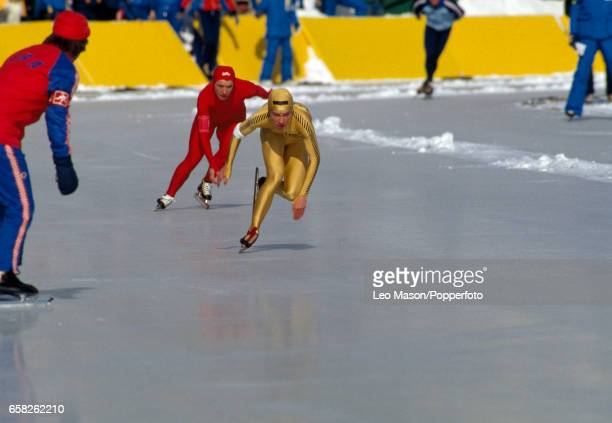 Beth Heiden of the USA enroute to a seventh place finish in the women's 500 metres speed skating event during the Winter Olympic Games in Lake Placid...