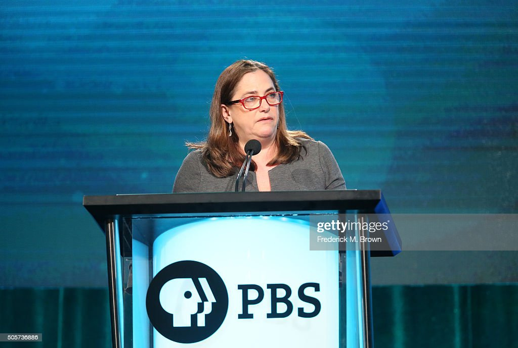 Beth Hoppe head of programming PBS speaks onstage for her closing remarks to close out the PBS portion of the 2016 Television Critics Association...