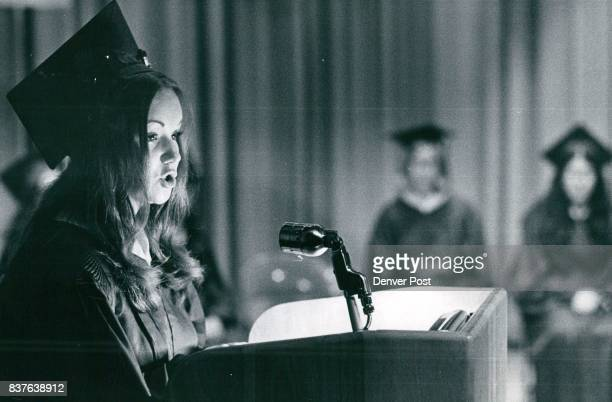 Beth Jacob High School Of Denver Awards Eight Diplomas At First Commencement Anna Lev of Denver Hebrew salutatorian delivers her address in Hebrew at...