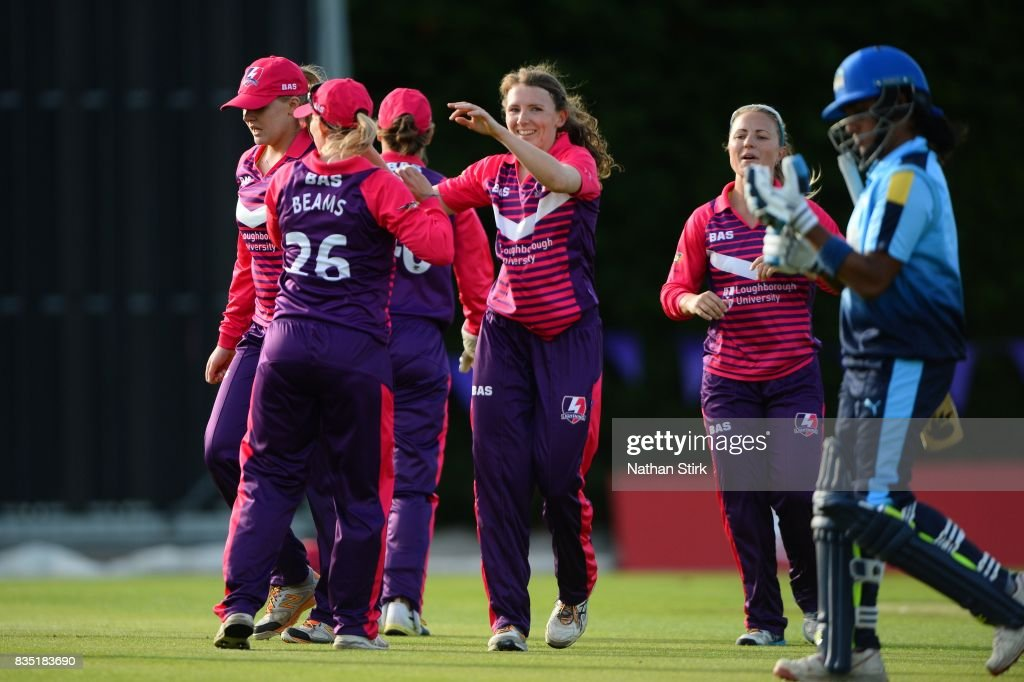 Beth Langston of Loughborough Lightning celebrates getting Chamari Atapattu of Yorkshire Diamonds out during the Kia Super League 2017 match between Loughborough Lightning and Yorkshire Diamonds at The Haslegrave Cricket Ground on August 18, 2017 in Loughborough, England.