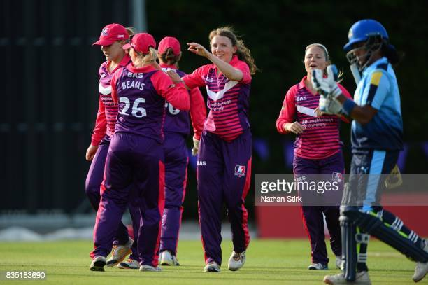 Beth Langston of Loughborough Lightning celebrates getting Chamari Atapattu of Yorkshire Diamonds out during the Kia Super League 2017 match between...