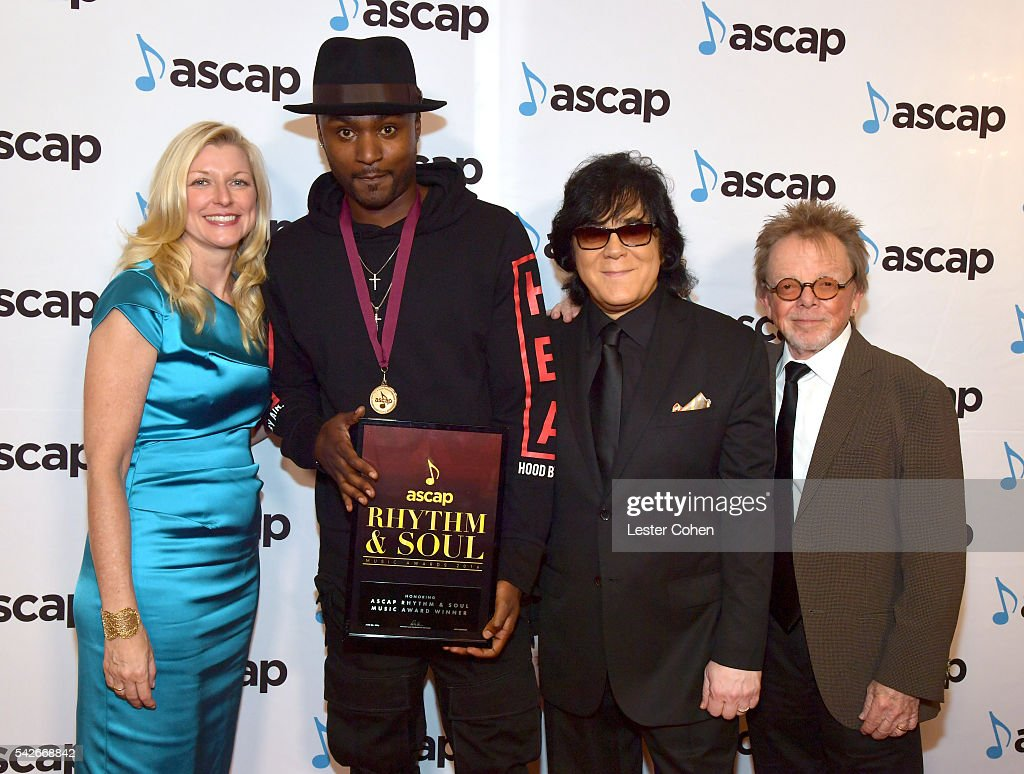 ASCAP CEO Beth Matthews songwriter Sam Hook ASCAP EVP of Membership John Titta and ASCAP President Chairman Paul Williams attend the 2016 ASCAP...