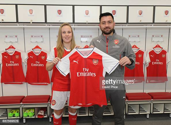 Beth Mead Arsenal Ladies latest signing with Arsenal Ladies Manager Pedro Martinez Losa at London Colney on January 23 2017 in St Albans England