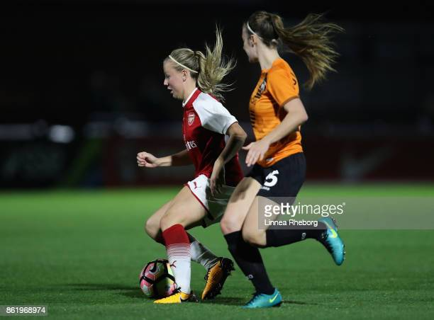 Beth Mead of Arsenal and Ocean Rolandsen of London Bees battle for possession during the FA WSL Continental Cup match between Arsenal and London Bees...