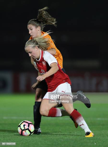 Beth Mead of Arsenal and Taylor O'Leary of London Bees battle for possession during the FA WSL Continental Cup match between Arsenal and London Bees...
