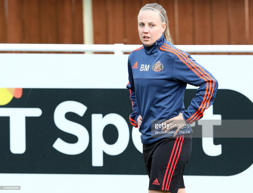 Beth Mead of Sunderland warms up before the WSL 1 match between Sunderland AFC Ladies and Manchester City Women at The Hetton Center on April 29, 2016 in Hetton, England.