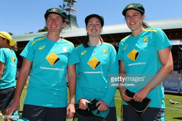 Beth Mooney Amanda Wellington and Tahlia McGrath of Australia during the cap presentation prior the Women's Test match between Australia and England...