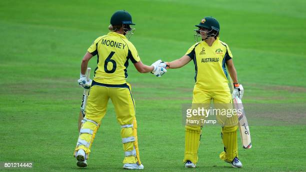 Beth Mooney and Nicole Bolton of Australia embrace during the ICC Women's World Cup 2017 match between Australia and West Indies at The Cooper...