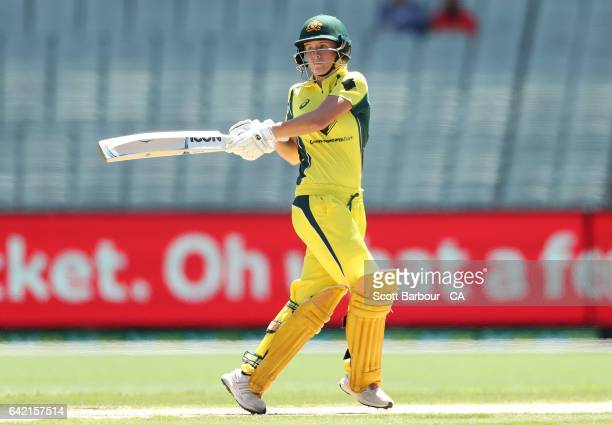 Beth Mooney of Australia bats during the first Women's International Twenty20 match between Australia and New Zealand at the Melbourne Cricket Ground...