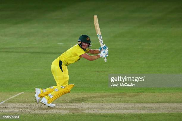 Beth Mooney of Australia bats during the first Women's Twenty20 match between Australia and England at North Sydney Oval on November 17 2017 in...