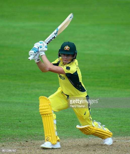 Beth Mooney of Australia bats during the ICC Women's World Cup 2017 match between Australia and West Indies at The Cooper Associates County Ground on...