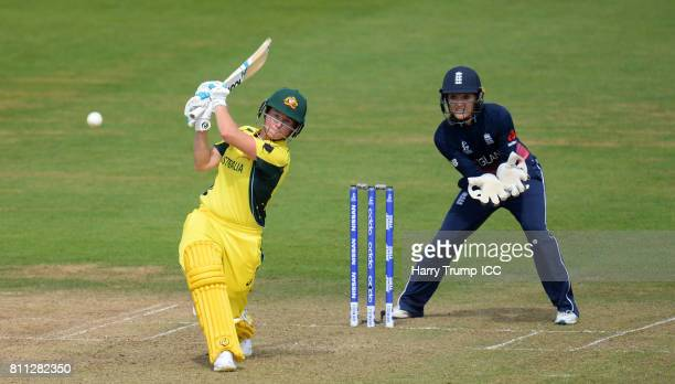 Beth Mooney of Australia bats during the ICC Women's World Cup 2017 match between England and Australia at The Brightside Ground on July 9 2017 in...