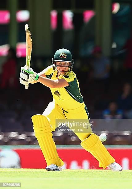 Beth Mooney of Australia bats during the International Twenty20 match between Australia and India at Sydney Cricket Ground on January 31 2016 in...