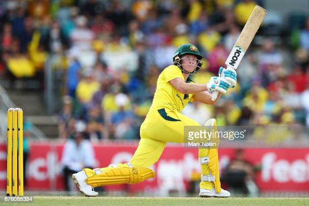 Beth Mooney of Australia bats during the second Women's Twenty20 match between Australia and England at Manuka Oval on November 19 2017 in Canberra...