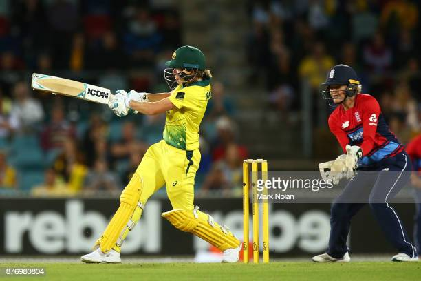 Beth Mooney of Australia bats during the Third Women's Twenty20 match between Australia and England at Manuka Oval on November 21 2017 in Canberra...