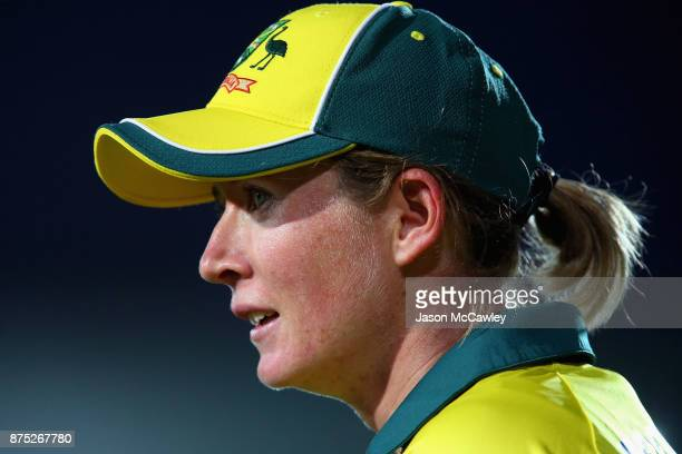 Beth Mooney of Australia looks on during the first Women's Twenty20 match between Australia and England at North Sydney Oval on November 17 2017 in...