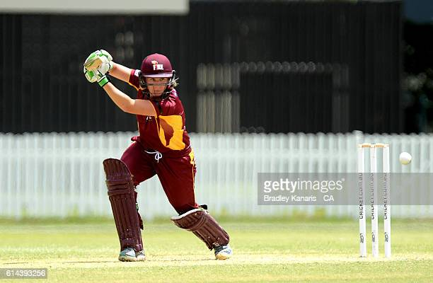 Beth Mooney of Queensland plays a shot during the WNCL match between Queensland and South Australia at Allan Border Field on October 14 2016 in...