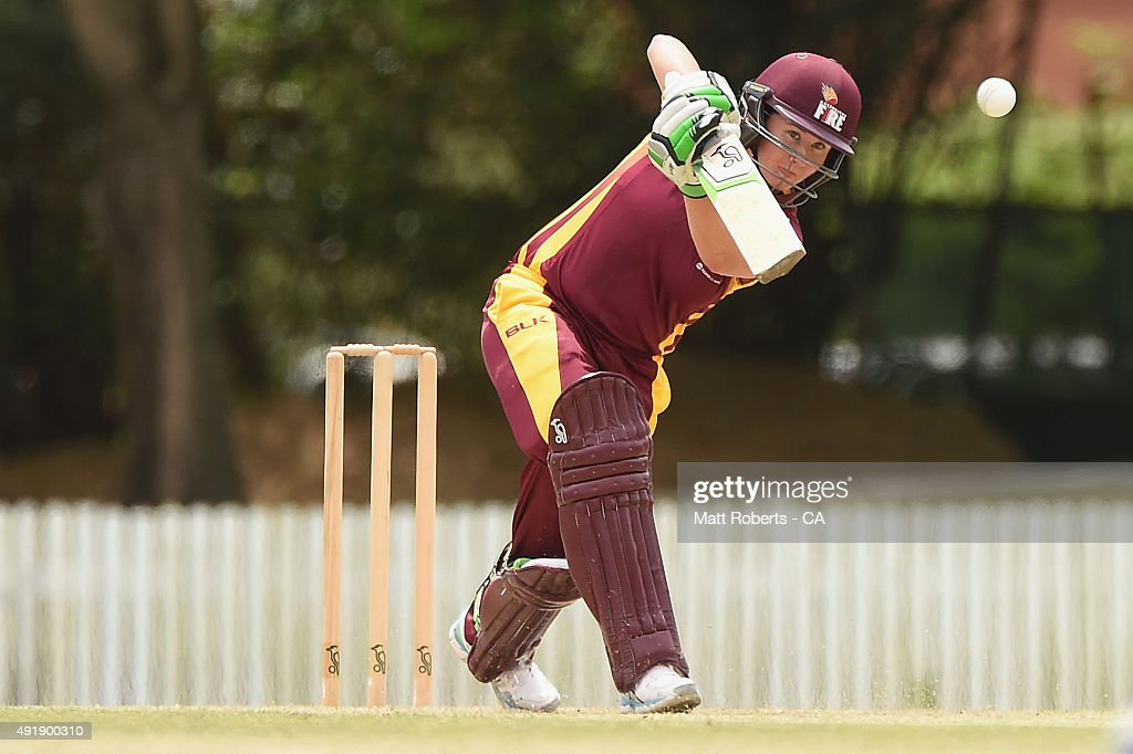 Beth Mooney of the Fire bats during the round one WNCL match between Queensland and Victoria at Allan Border Field on October 9 2015 in Brisbane...