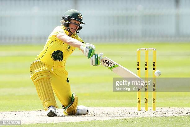Beth Mooney of the Governor General's XI bats during the women's tour match between the Governer General's XI and South Africa at Drummoyne Oval on...