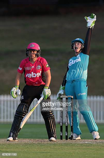 Beth Mooney of the Heat appeals during the Women's Big Bash League match between the Brisbane Heat and the Sydney Sixers at Drummoyne Oval on...