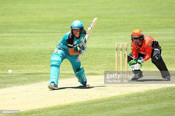 Beth Mooney of the Heat bats during the Women's Big Bash League match between the Perth Scorchers and the Brisbane Heat at Aquinas College on...