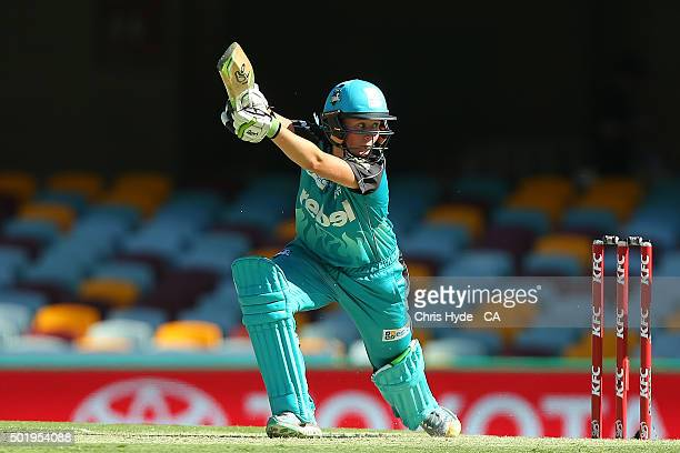 Beth Mooney of the Heat bats during the Women's Big Bash League match between the Brisbane Heat and the Adelaide Strikers at The Gabba on December 19...