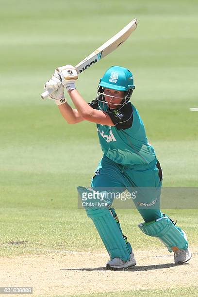 Beth Mooney of the Heat bats during the Women's Big Bash League match between the Brisbane Heat and the Melbourne Renegades at Allan Border Oval on...