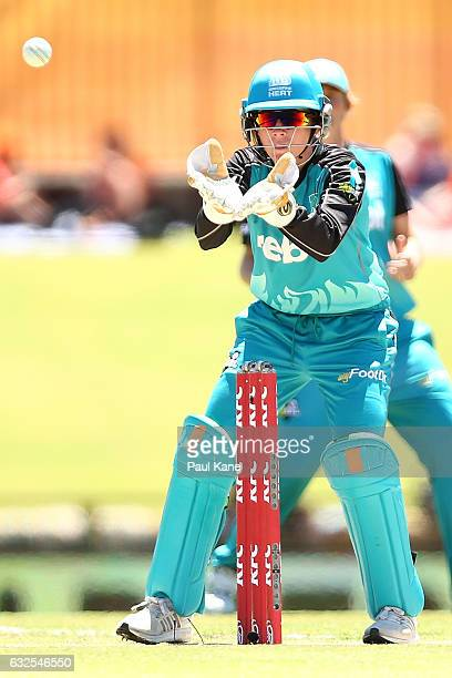 Beth Mooney of the Heat takes a return throw during the Women's Big Bash League match between the Perth Scorchers and the Brisbane Heat at the WACA...
