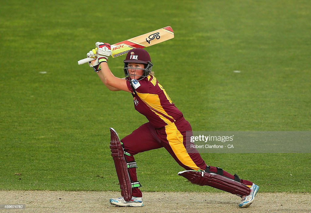 Beth Mooney of the Queensland Fire bats during the WT20 match between Tasmania and Queensland Aurora Stadium on November 28 2014 in Launceston...
