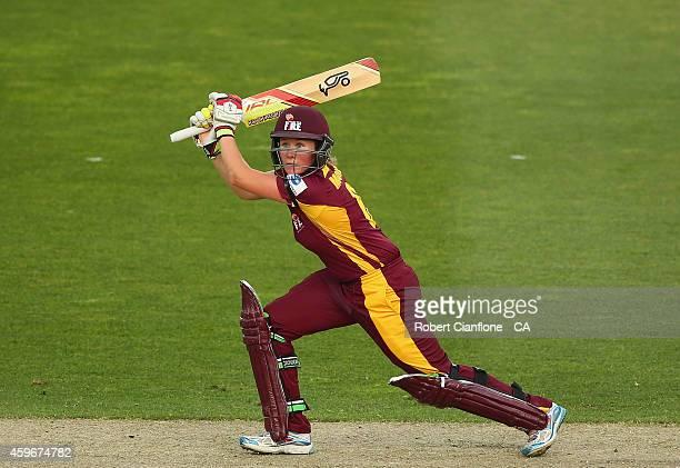 Beth Mooney of the Queensland Fire bats during the WT20 match between Tasmania and Queensland Aurora Stadium on November 28 2014 in Launceston...
