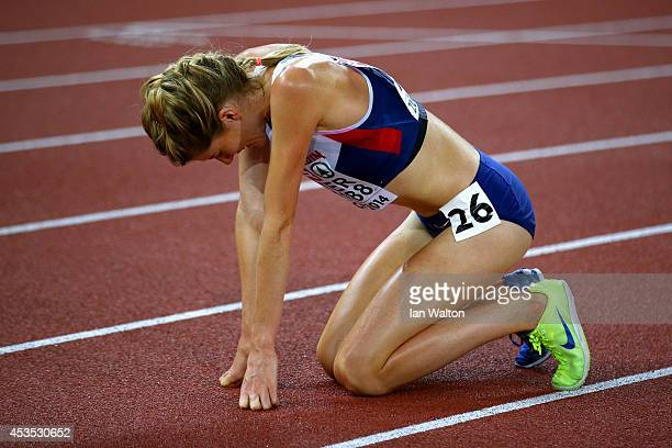Beth Potter of Great Britain and Northern Ireland reacts after the Women's 10000 metres final during day one of the 22nd European Athletics...