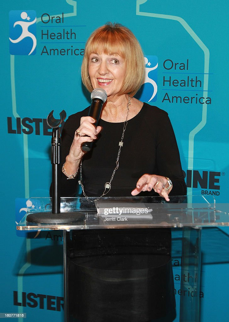 Beth Truett of Oral Health of America speaks at the Listerine 21 Day Challenge Kick-off with actress Ginnifer Goodwin at Gabarron Museum NYC on February 5, 2013 in New York City.