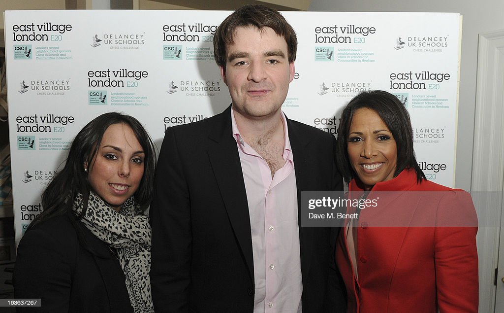 Beth Tweddle, chess grandmaster Gawain Jones and Dame Kelly Holmes attend the launch of the 'Urban Chess' Funding Initiative from East Village at Mortons on March 13, 2013 in London England.