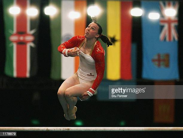 Beth Tweddle of England in action during the Gymnastic Women's Uneven Bars Final at the Greater Manchester Exhibition Centre during the 2002...