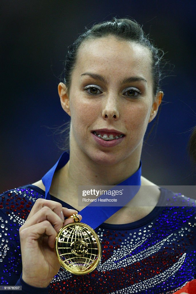 <a gi-track='captionPersonalityLinkClicked' href=/galleries/search?phrase=Beth+Tweddle&family=editorial&specificpeople=804240 ng-click='$event.stopPropagation()'>Beth Tweddle</a> of Great Britain celebrates with her gold medal after she won the floor exercise during the Apparatus Finals on the sixth day of the Artistic Gymnastics World Championships 2009 at the at O2 Arena on October 18, 2009 in London, England. <a gi-track='captionPersonalityLinkClicked' href=/galleries/search?phrase=Beth+Tweddle&family=editorial&specificpeople=804240 ng-click='$event.stopPropagation()'>Beth Tweddle</a> of Great Britain won gold, Lauren Mitchell of Australia won silver and Linlin Deng of China won bronze.