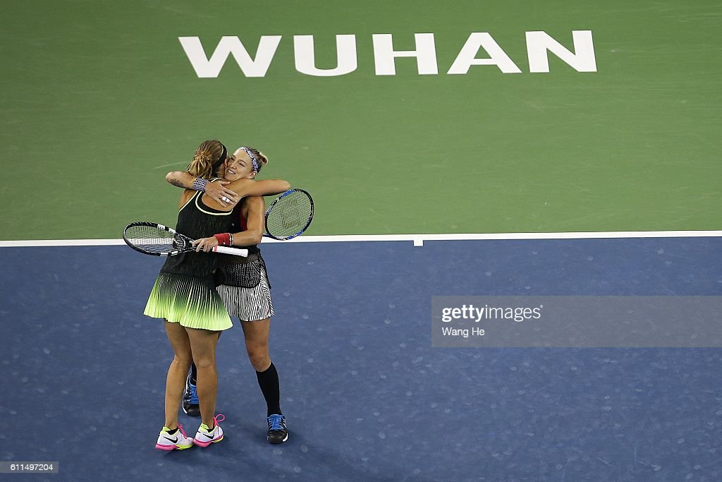 Bethane Mattek Sands of USA and Lucie Safarova of Czech Republic celebrates after they won the match againstin Christina McHale of United States and Shuai Peng of China during the Women's Doubles Semi final match on day 6 of the 2016 Dongfeng Motor Wuhan Open at the Optics Valley International Tennis Center on September 30, 2016 in Wuhan, China.
