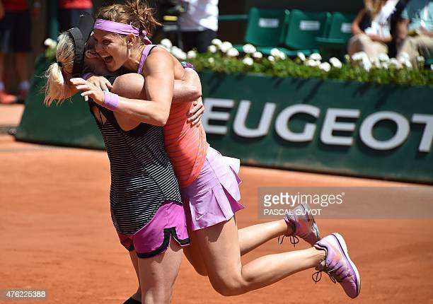 US Bethanie MattekSands and Czech Republic's Lucie Safarova celebrate after winning against Australia's Casey Dellacqua and Kazakhstan's Yaroslava...