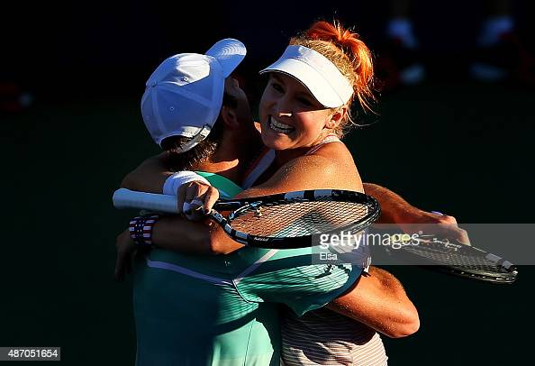 Bethanie MattekSands and Sam Querrey of the United States celebrate defeating Daria Gavrilova and John Peers Australia in their Mixed Doubles Second...