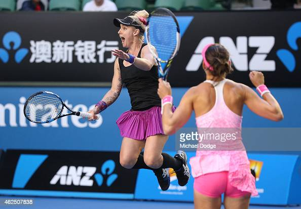 Bethanie MattekSands of the United States and Lucie Safarova of the Czech Republic celebrate winning their final doubles match against YungJan Chan...