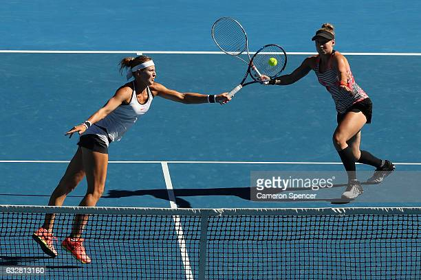 Bethanie MattekSands of the United States and Lucie Safarova of the Czech Republic compete in their Women's Doubles Final match against Andrea...