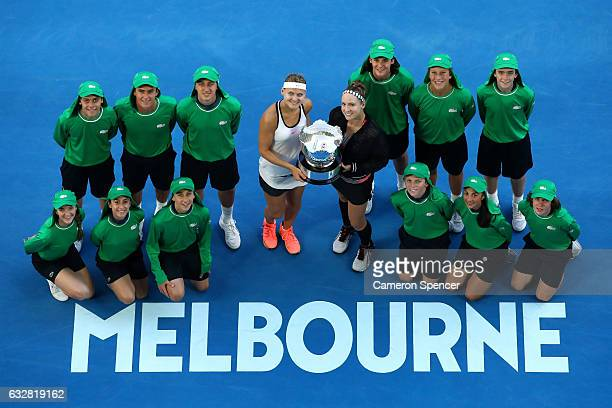 Bethanie MattekSands of the United States and Lucie Safarova of the Czech Republic pose with the championship trophy after winning their Women's...