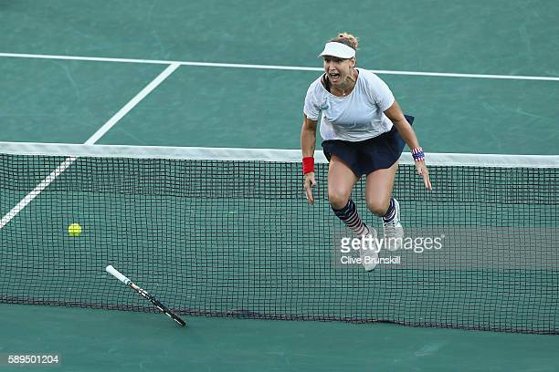 Bethanie MattekSands of the United States celebrate victory in the mixed doubles gold medal match against Rajeev Ram and Venus Williams of the United...