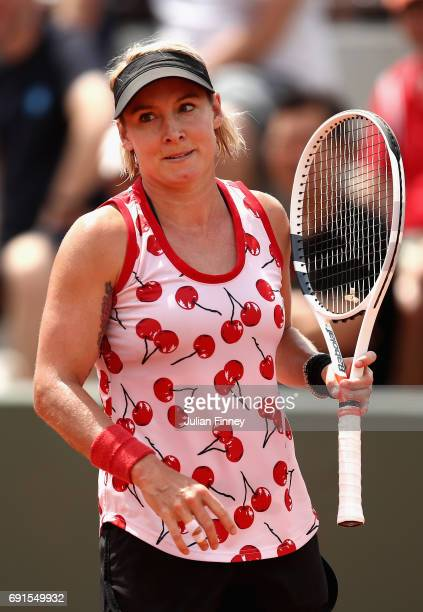 Bethanie MattekSands of The United States looks on during ladies singles third round match against Samantha Stosur of Australia on day six of the...