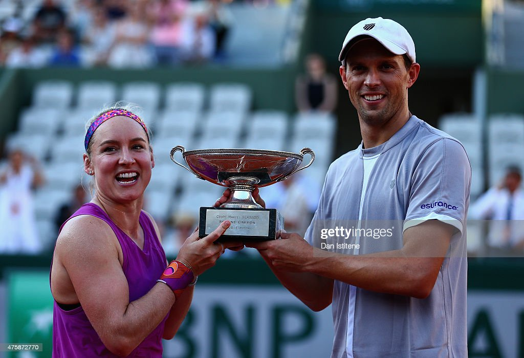 Bethanie Mattek-Sands of the United States of America and <a gi-track='captionPersonalityLinkClicked' href=/galleries/search?phrase=Mike+Bryan&family=editorial&specificpeople=204456 ng-click='$event.stopPropagation()'>Mike Bryan</a> of the United States pose with the trophy after winning the Mixed Doubles Final against Lucie Hradecka of Czech Republic and Marcin Matkowski of Poland on day twelve of the 2015 French Open at Roland Garros on June 4, 2015 in Paris, France.