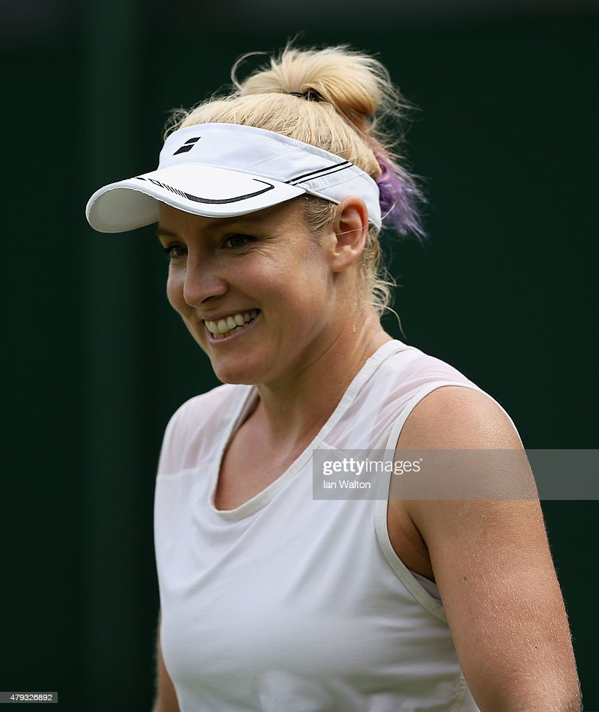 <a gi-track='captionPersonalityLinkClicked' href=/galleries/search?phrase=Bethanie+Mattek-Sands&family=editorial&specificpeople=7481266 ng-click='$event.stopPropagation()'>Bethanie Mattek-Sands</a> of the United States of America smiles in her Ladies Singles Third Round match against Belinda Bencic of Switzerland during day five of the Wimbledon Lawn Tennis Championships at the All England Lawn Tennis and Croquet Club on July 3, 2015 in London, England.