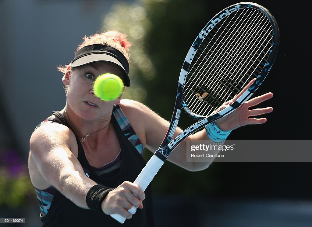 <a gi-track='captionPersonalityLinkClicked' href=/galleries/search?phrase=Bethanie+Mattek-Sands&family=editorial&specificpeople=7481266 ng-click='$event.stopPropagation()'>Bethanie Mattek-Sands</a> of the United States plays a backhand in the women's single's match against Eugenie Bouchard of Canada during day two of the 2016 Hobart International at the Domain Tennis Centre on January 11, 2016 in Hobart, Australia.