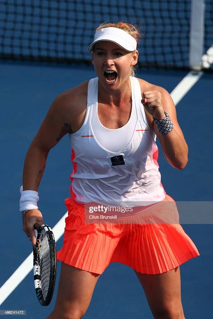 <a gi-track='captionPersonalityLinkClicked' href=/galleries/search?phrase=Bethanie+Mattek-Sands&family=editorial&specificpeople=7481266 ng-click='$event.stopPropagation()'>Bethanie Mattek-Sands</a> of the United States reacts against Coco Vandeweghe of the United States during their Women's Singles Second Round match on Day Three of the 2015 US Open at the USTA Billie Jean King National Tennis Center on September 2, 2015 in the Flushing neighborhood of the Queens borough of New York City.