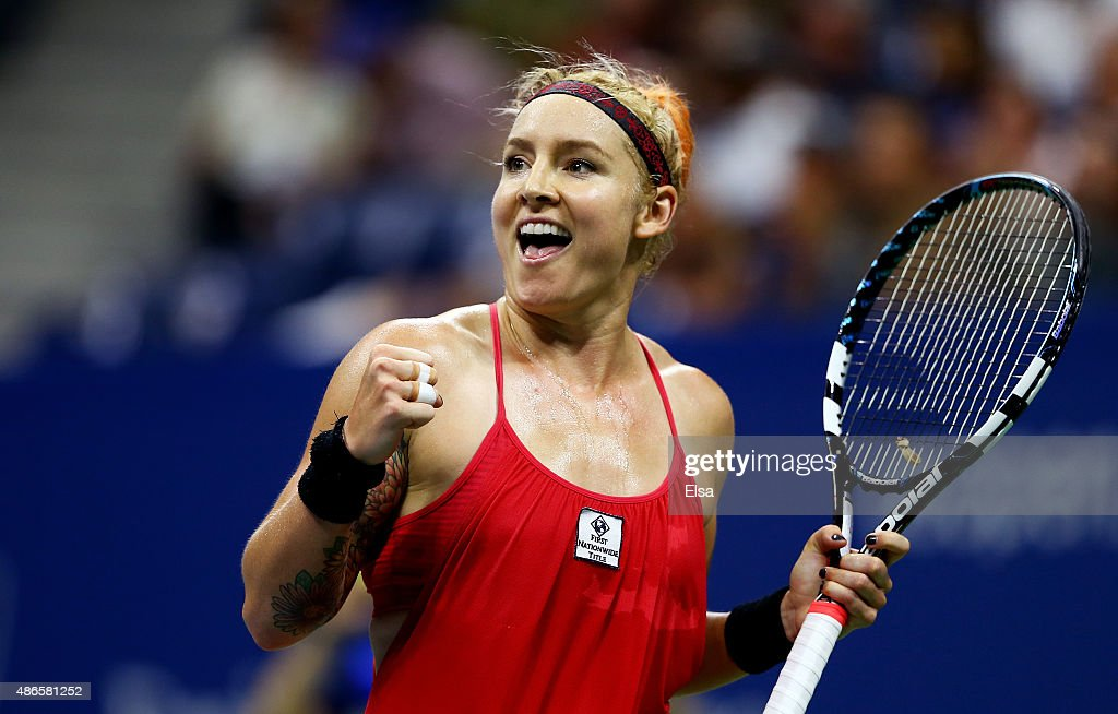 <a gi-track='captionPersonalityLinkClicked' href=/galleries/search?phrase=Bethanie+Mattek-Sands&family=editorial&specificpeople=7481266 ng-click='$event.stopPropagation()'>Bethanie Mattek-Sands</a> of the United States reacts against Serena Williams of the United States during their Women's Singles Third Round match on Day Five of the 2015 US Open at the USTA Billie Jean King National Tennis Center on September 4, 2015 in the Flushing neighborhood of the Queens borough of New York City.